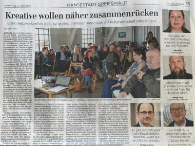 OZ Artikel über das KreativeLab Greifswald. April 2017